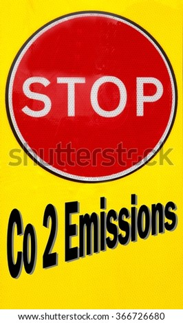 Red and yellow warning sign with a Stop CO2 Emissions concept - stock photo