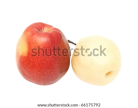 red apple and blanching pear on white background