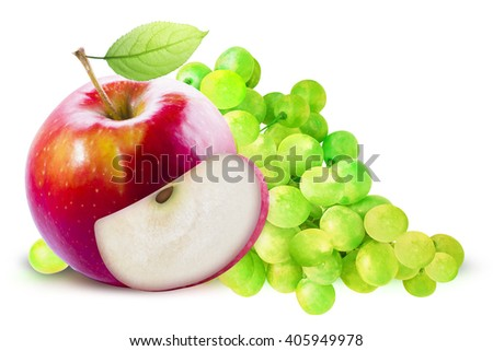 Red Apple and green grapes on white background. Grape and apple with clipping path. Red apple with leave. Red apple with slice. Green grape and red apple composition. Grape and apple clipping path. - stock photo