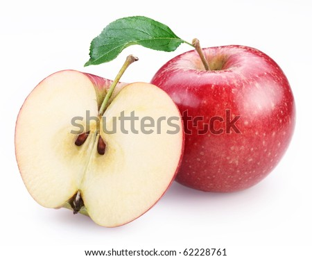 Red apple and half of red apple isolated on a white background. - stock photo