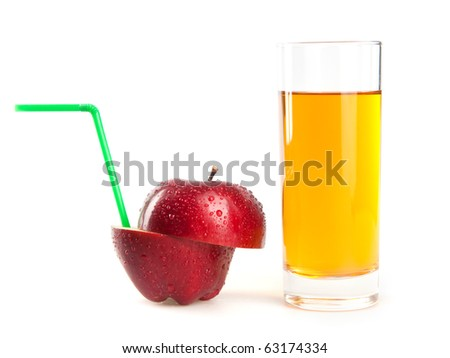 red apple and juice - stock photo