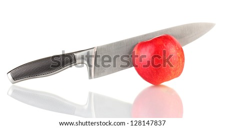 Red apple and knife isolated on white