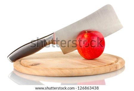 Red apple and knife on cutting board, isolated on white