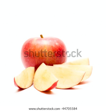Red Apple and slices isolated on white - stock photo