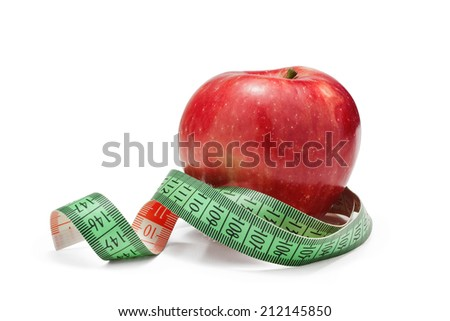 red apple and tape measure, isolated over white background - stock photo