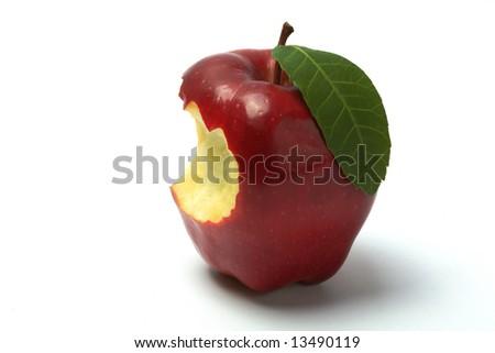 Red apple, bitten, isolated - stock photo