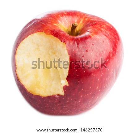 red apple bitten isolated on a white background - stock photo