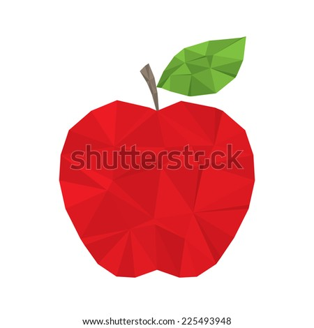Red apple clean and modern minimal design - polygonal element no mesh no gradient - stock photo