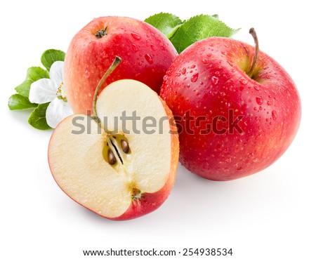 Red apple. Fruit with drops and leaves. With clipping path - stock photo