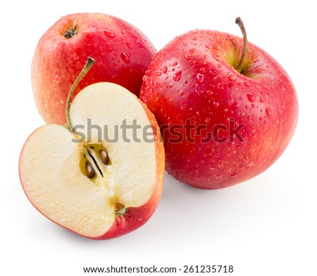 Red apple. Fruit with drops isolated. With clipping path - stock photo