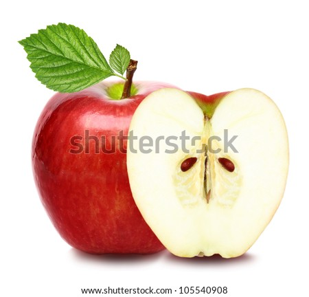 Red apple fruit with green leaf and half of apple isolated on white background - stock photo
