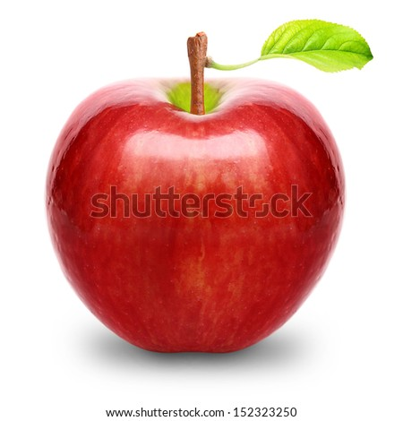 Red apple fruit with green leaf isolated on white background. - stock photo