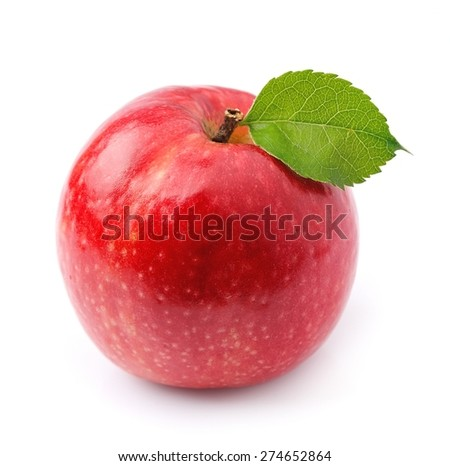 Red apple fruits isolated on white background .  - stock photo