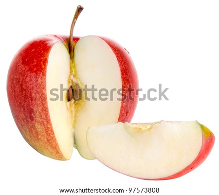 red apple fruits with cut and green leaves isolated on white background - stock photo
