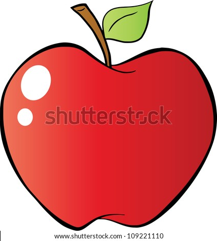 Red Apple In Gradient. Raster Illustration.Vector version also available in portfolio - stock photo