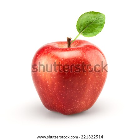 red apple isolate on white - stock photo