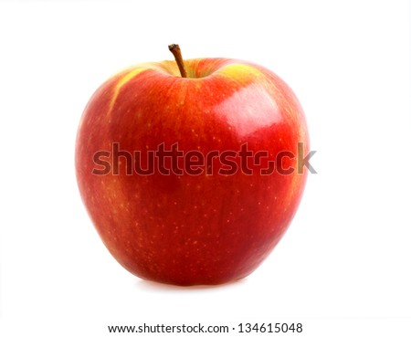 Red apple isolated on a white background - stock photo