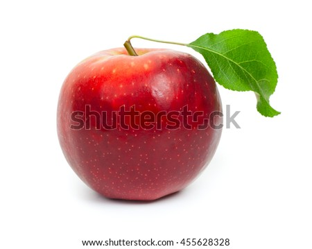 Red apple isolated on a white background, close-up.