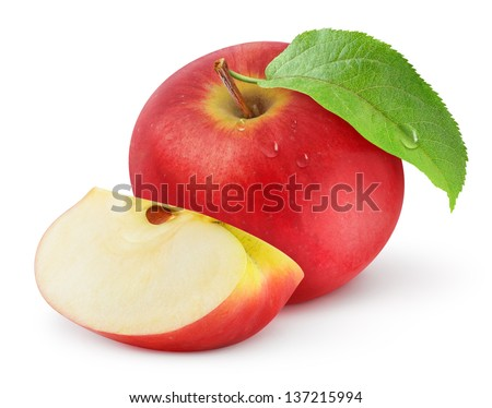 Red apple isolated on white - stock photo