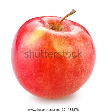 red apple isolated on white background, clipping path - stock photo