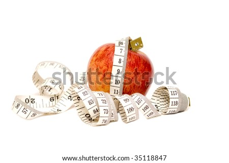 Red Apple isolated on white with measuring tape- Diet concept.