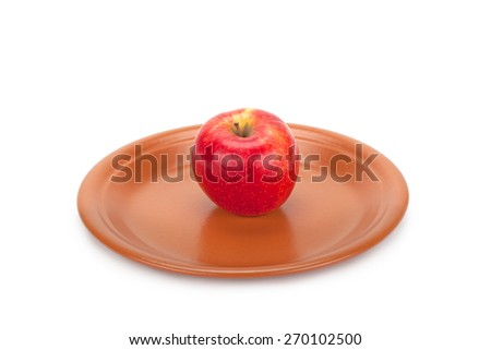red apple on a plate isolated on white background - stock photo