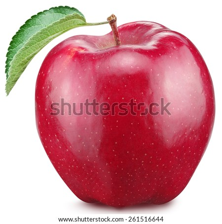 Red apple on a white background. - stock photo