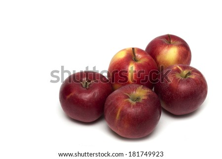 Red apple on a white background. Photo.