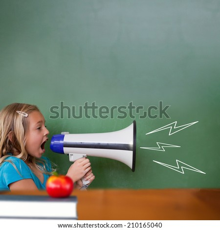 Red apple on pile of books against cute pupil shouting through megaphone - stock photo