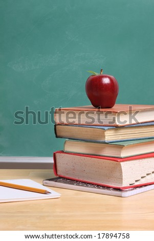 Red apple on stack of school books