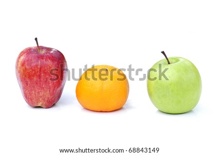 red apple,orange and green apple isolated on white background