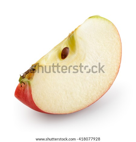 Red apple. Piece isolated on white. With clipping path. - stock photo
