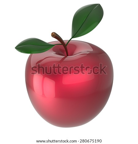 Red apple ripe fruit nutrition antioxidant fresh exotic agriculture beauty icon. 3d render isolated on white background - stock photo