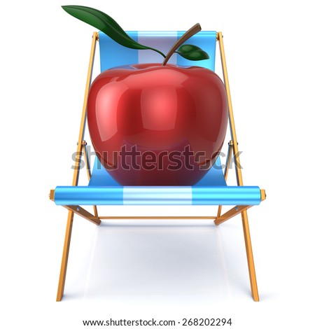 Red apple sitting in beach chair. Beauty healthy fresh food diet summer open air vegetarian nutrition concept. 3d render isolated on white - stock photo