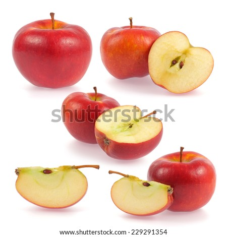 Red apple slice collection isolated on white background  - stock photo
