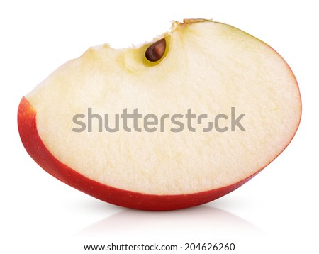 Red apple slice isolated on white background - stock photo