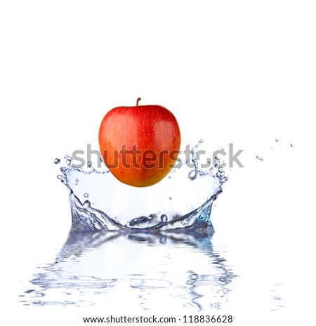 Red apple splashing into water. close up side view, with depth of field. 3 D digital rendering, on white background. - stock photo