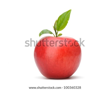 Red apple with a green leaf. Isolated on white background - stock photo