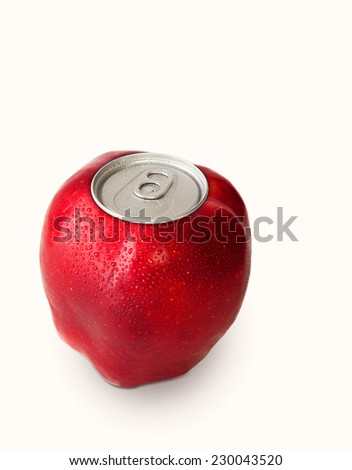 Red apple with a metal lid - stock photo