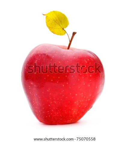 red apple with aspen leaf isolated on white - stock photo