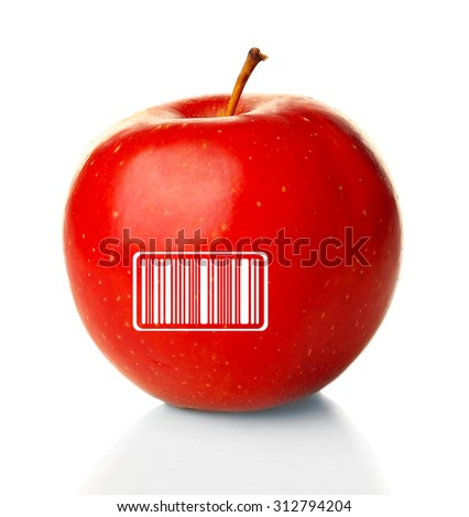 Red apple with barcode isolated on white - stock photo