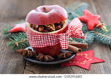red apple with bow and filling