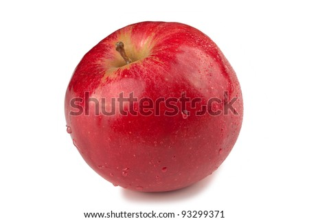 red apple with droplet isolated on white background - stock photo