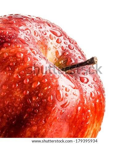 red apple with drops of water - stock photo