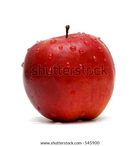 Red apple with drops on white background