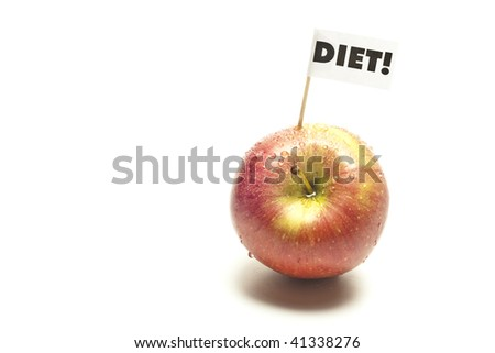 red apple with flag in front of white backgound