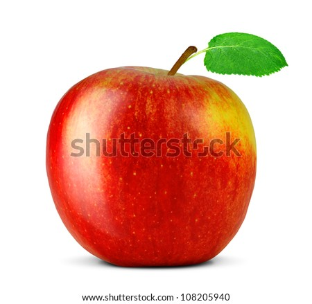 red apple with green leaf isolated on white background - stock photo