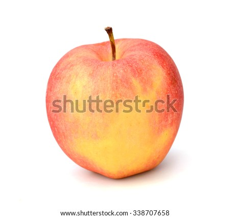 red apple with green leaf isolated on white background