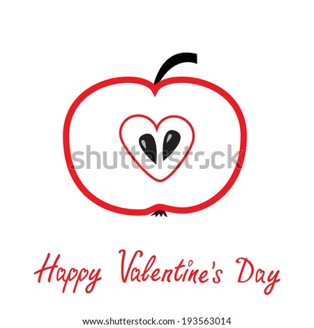 Red apple with heart shape. Happy Valentines Day card. Rasterized copy