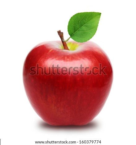 Red apple with leaf isolated - stock photo